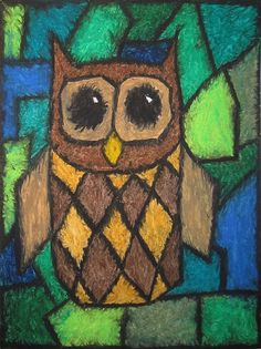 Owl - geometric oil pastel drawing by crackedmoon, via Flickr