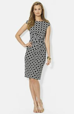Lauren Ralph Lauren Print Side Knot Jersey Sheath Dress (Petite) available at #Nordstrom