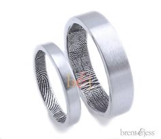 The Original Fingerprint Wedding Ring Set in Sterling Silver      -wedding band set-