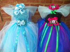 Matching Sibling Frozen Anna Elsa Tutu Dress Costume Birthday Full Includes Hair Piece Bow Anna Matching