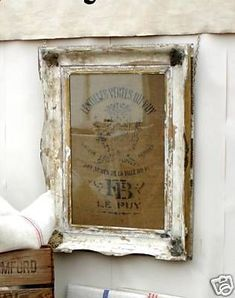 Perfect or kitchen - shabby frame and burlap bag framed