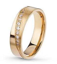 EX2D5Y-D Aliança em ouro acetinado, com 10 diamantes