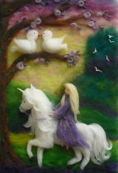 Feltwork 'Prinzessin im Taubenwald', (Princess in the Enchanted Forest); Needle Felted Animals, Felt Animals, Unicorn And Fairies, Tilda Toy, Unicorn Pictures, Felt Pictures, Needle Felting Tutorials, Felt Fairy, Wool Art