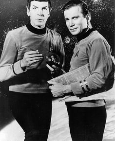 Leonard Nimoy and William Shatner in Star Trek 1966-69 Mr. Spock and Captain James T. Kirk.