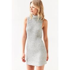 BDG Marly Turtleneck Sweater Mini Dress ($69) ❤ liked on Polyvore featuring dresses, white ribbed turtleneck, white dress, mini dress, turtleneck bodycon dress and white turtleneck