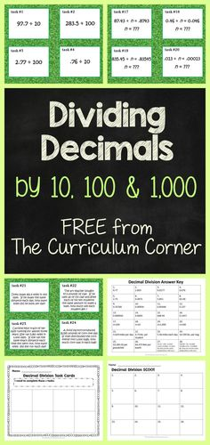 Use this set of task cards as a center activity to practice dividing decimals or as a SCOOT game. FREE from the Curriculum Corner 5th Grade Math Games, Fifth Grade Math, Math Tutor, Teaching Math, Teaching Division, Teaching Ideas, Sixth Grade, Math Teacher, Teacher Stuff
