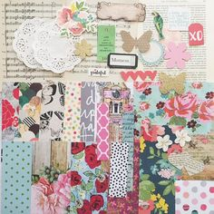 Vintage Floral Scrapbook Paper and Ephemera by kokovanilladesigns Shabby Vintage, Vintage Floral, Scrapbook Paper Art, Scrapbooking, Music Paper, Card Making Kits, Paper Doilies, Unique Cards, Pattern Paper