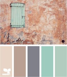 Antiquity tones - a lovely mix of pale pink, soft antique violet, periwinkle, light aqua, and the palest blue-gray. Where is the terra cotta I see in the photo? Still, an interesting palette that makes me go hmm....