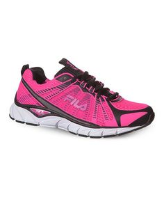 This FILA Pink & Black Threshold Running Shoe by FILA is perfect! #zulilyfinds