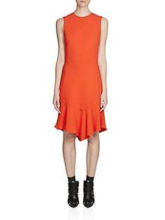 Givenchy - Cady Sleeveless Ruffled Hem Dress