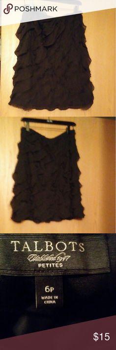 Talbots skirt Beautiful. Black ruffled skirt.  In great condition.  No fade. Talbots Skirts