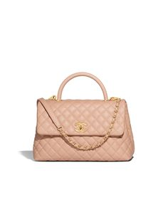 Chanel - LARGE FLAP BAG WITH TOP HANDLE - CALFSKIN & GOLD-TONE METAL - BEIGE - $4,300