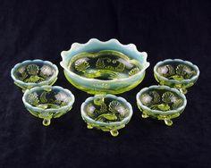 Glass Cooperative Studio Vintage Bagley Frosted Vase Bowl With Metal Basket Leaves Attractive Fashion Bagley/sowerby/davidson