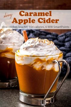 Skinny Slow Cooker Caramel Apple Cider - Steamed freshly pressed apple juice and cinnamon syrup. Topped with sweetened whipped cream and caramel drizzle - only 154 calories and 6 WW Freestyle SmartPoints! Ww Recipes, Apple Recipes, Slow Cooker Recipes, Fall Recipes, Holiday Recipes, Cooking Recipes, Christmas Recipes, Winter Drinks, Liqueur