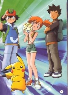 Remember the original Pokemon? Pikachu is here with his trainer Ash Ketchum and his friends and team mates Brock and Misty (who is holding Togepi). All Pokemon, Pokemon Fan, Cute Pokemon, Brock Pokemon, Pokemon Indigo League, Pokemon Store, Pokemon Pokemon, Pokemon Images, Pokemon Pictures