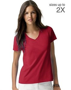 Looking for great V neck t-shirts for women? This Hanes tee is so light and soft, you'll fall in love with this top in a Nano-second. Ultra-light 100% cotton jersey feels fantastic next to your skin and drapes beautifully. (Light Steel cotton/polyester.) Sleek, contoured fit with side seams that flatter your silhouette. TAGLESS tee for a no-itch neckline. Preshrunk for a great fit wash after wash. Double-needle sleeve and bottom hems for longer life.