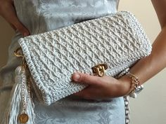 Your place to buy and sell all things handmade Crochet Handbags, Crochet Purses, Crochet Gifts, Knit Crochet, Crochet Clutch Pattern, Crochet Shoulder Bags, Crocheted Bags, Wedding Purse, Fringe Bags