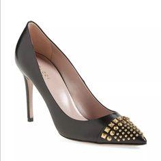 fa030ef15d4 Gucci Coline Black Gold Studded Leather Pumps Black And Gold Pumps