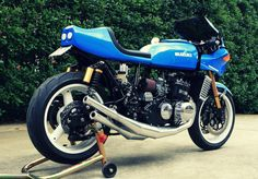 !976 Suzuki GT750 - water-cooled, 2-stroke with modern suspension and brakes. Intended to have hints of Barry Sheene's 1975 Suzuki TR750 2-stroke.