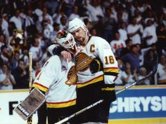Trevor Linden and Kirk McLean | Vancouver Canucks | NHL | Hockey