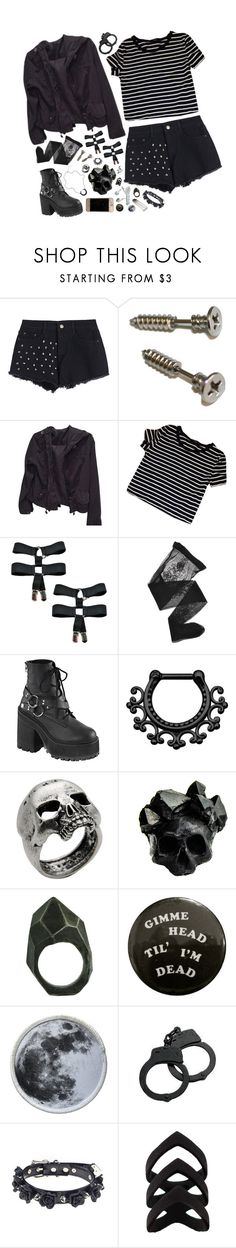 """[ black + white ]"" by sadkingloki ❤ liked on Polyvore featuring Brandy Melville, Emporio Armani, Demonia, John Richmond, Macabre Gadgets and Lady Grey"