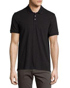 Slub Polo Shirt, Black, Women's, Size: SMALL - Vince