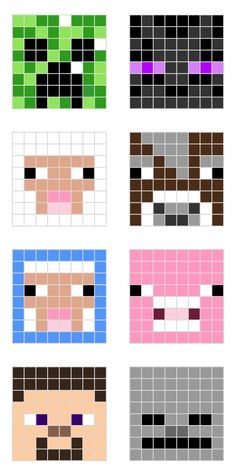 Minecraft designs for Perler beads! I AM IN LOVE WITH THEM! I have to make those ones!