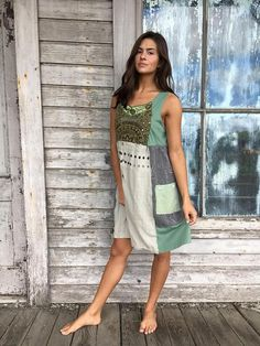 Romantic/Tattered/Rustic/Boho/Gypsy Dress upper part of dress is made with cotton/nylon and has added trim along front and panel along back lower part is made with panels and has added pocket Size-medium large chest-42 has stretch hips-52 length-36