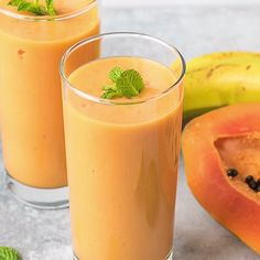 Turmeric Papaya Smoothie - an amazing combination of flavors makes this healthy drink super delicious.Healing drink low in calories. Papaya Smoothie Detox, Raspberry Smoothie, Smoothie Recipes, Papaya Drink, Juice Recipes, Kefir Recipes, Turmeric Smoothie, Vitamins, Loosing Weight