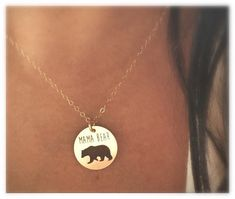 Mama Bear Necklace in Yellow Gold or Rose Gold, Mothers Day, Gift For Mom, Baby Shower Gift