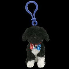 Ty Beanie Babies Bo First Portuguese Water Dog Key Clip Blue