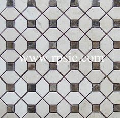 Crema Marfil Pinwheel Design with Emperador Dark dots PWD-32