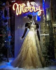 Merry (night) - Bergdorf Goodman Christmas window display.
