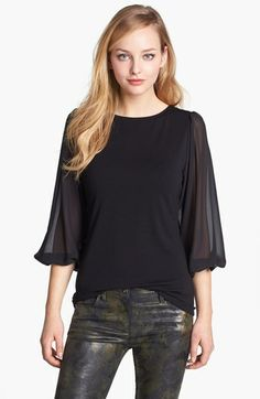 Vince Camuto Chiffon Sleeve Knit Top   Nordstrom