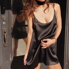 Our Anais dress. The heaviest silk charmeuse. Now in black || ayai