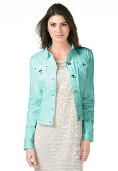 55952d38c47d0 Cato Fashions Crystal Button Brushed Denim Jacket - Plus  CatoFashions Debs