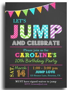 jump invitation printable or printed with free shipping jump bounce trampoline birthday jump flags collection digital