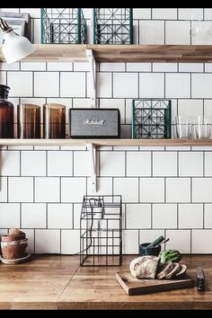 Open shelves styling in the kitchen