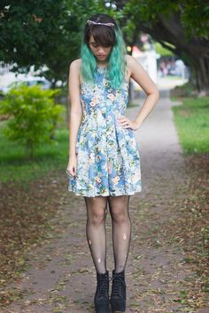 ripped-fishnet-tights-blue-floral-dress