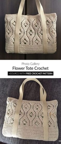 Flower Tote Bag Free Crochet Pattern - Crochet Ideas by Sammie n' Sandy (starting new) Free Crochet Bag, Crochet Purse Patterns, Crochet Market Bag, Crochet Tote, Bag Patterns To Sew, Crochet Handbags, Crochet Purses, Crochet Crafts, Crochet Baby