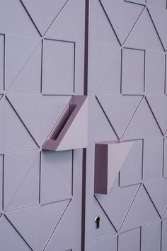 Close up of a modern wardrobe shutter design in pastel and soothing colours for the master bedroom. Look at those intersecting geometric patterns. This is from the family home of MuseLAB - architects and interior designer based in Mumbai. Wooden Closet, Wooden Wardrobe, Wardrobe Furniture, Wardrobe Door Handles, Wardrobe Doors, Wardrobe Closet, Wardrobe Door Designs, Wardrobe Design Bedroom, Wadrobe Design
