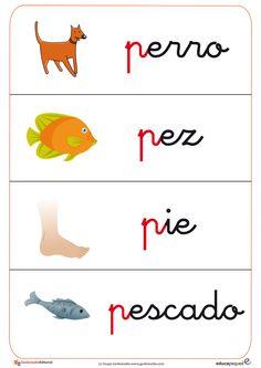 Trabaja el vocabulario de la letras p y trabaja la leta p con esta ficha de vocabulario y ficha de letras de educaepeques.