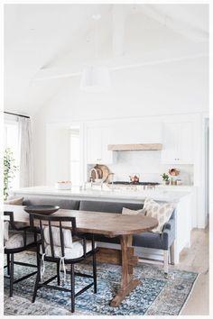 Kitchen Island With Bench Seating, Kitchen Island And Table Combo, Kitchen Dining Combo, Kitchen Table Bench, Farmhouse Style Kitchen, Kitchen Design, Bench Seat Dining Room, Islands With Seating, Small Kitchen With Island