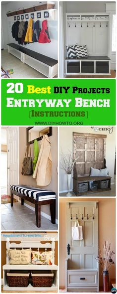 20 Best Entryway Bench DIY Ideas Projects [Picture Instructions] 20 Best Entryway Bench DIY Ideas Projects [Instructions] – New & Repurposed via DIYHowTo Diy Bench, Entryway Bench, Entryway Ideas, Diy Chair, Repurposed Furniture, Home Furniture, Diy Entryway Furniture, Furniture Online, Furniture Projects