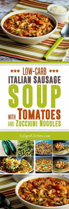 If you like Italian Sausage, you're going to LOVE this Low-Carb Italian Sausage Soup with Tomatoes and Zucchini Noodles; this amazing soup is also Keto, low-glycemic, gluten-free, and can easily be Paleo or Whole 30 if you choose the right sausage and omit cheese. [found on KalynsKitchen.com]