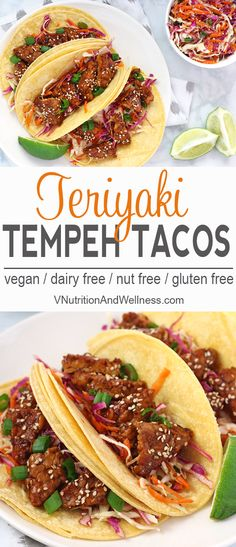 Teriyaki Tempeh Tacos | Looking for a different take on tacos? These Teriyaki Tempeh Tacos are a loaded with protein and combine both sweet and savory to make a delicious and easy meal. vegan tacos, gluten-free tacos, vegan taco recipe via @VNutritionist
