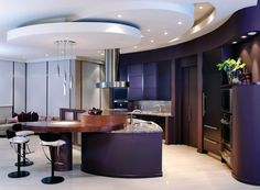 Purple kitchen. Contemporary kitchen.