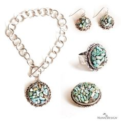 Create from the Nunn Design Buy & Try Embedding Stones Program this great jewelry collection.  This free tutorial walks you through how to embed Turquoise Chips into Crystal Clay.  All supplies available for purchase.