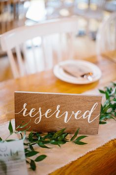 Wedding Table Reserved Signs - You should keep four things in mind, while searching for the most memorable wedding dining Tie The Knot Wedding, Wedding Tips, Diy Wedding, Fall Wedding, Trendy Wedding, Reserved Table Signs, Reserved Wedding Signs, Wedding Chairs, Wedding Table