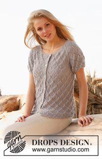 """Knitted DROPS jacket with lace pattern and raglan in """"BabyAlpaca Silk"""". Size: S - XXXL. ~ DROPS Design Free Knitting Patterns For Women, Sweater Knitting Patterns, Lace Knitting, Knitting Designs, Knit Patterns, Drops Design, Vest Pattern, Free Pattern, Summer Knitting"""